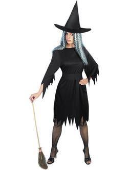 Fekete Kísérteties Boszorkány Női Jelmez