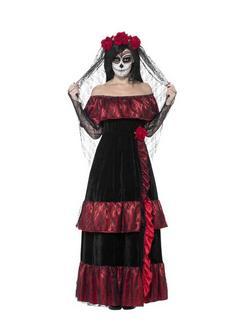 Fekete Mexikói Halottak Napja Menyasszony Jelmez Nőknek - XXL