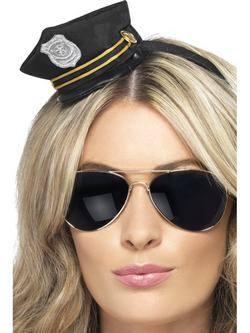 Fekete Mini Rendőr Sapka Jelvény Mintával