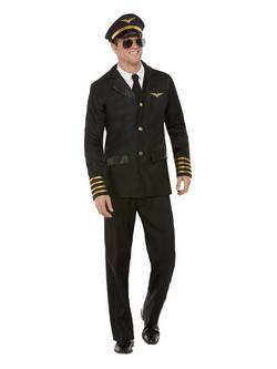 Fekete Pilóta Férfi Jelmez