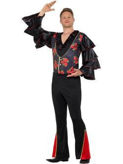 Fekete-Piros Flamenco Táncos Jelmez Férfiaknak - L