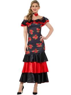 Fekete-Piros Flamenco Táncos Jelmez Nőknek Ruhával és Nyakpánttal