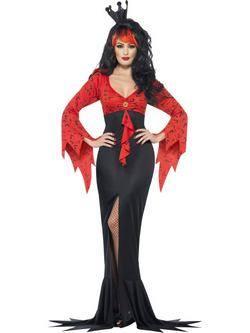 Fekete-Piros Gonosz Királynő Női Jelmez