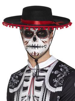Fekete-Piros Mexikói Halottak Napja Sombrero Stílusú Kalap Férfiaknak