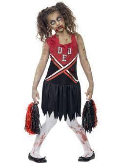 Fekete-Piros Zombi Pom-Pom Lány Cheerleader Kislány Jelmez