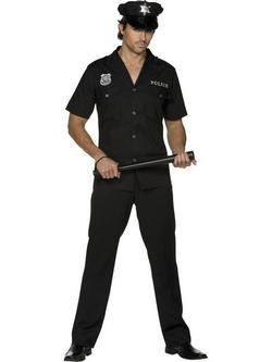 Fekete Rendőr Férfi Jelmez