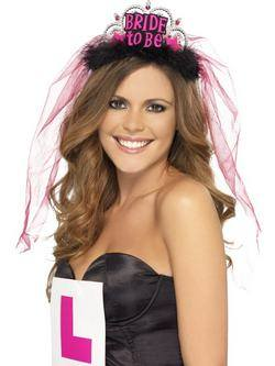 Fekete-Rózsaszín Bride To Be Tiara Fátyollal
