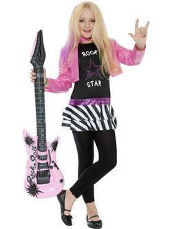Fekete-Rózsaszín Rock Sztár Kislány Jelmez