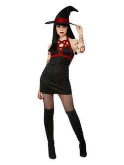 Fekete Sátáni Boszorkány Női Jelmez Halloweenre