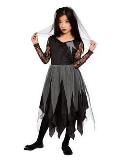Fekete Temető Menyasszony Kislány Jelmez Halloweenre