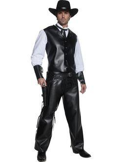 Fekete Vadnyugati Fegyveres Férfi Jelmez