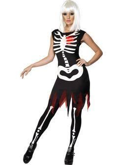 Fekete Világító Csontváz Női Jelmez