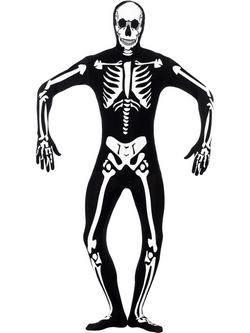 Fekete Világító Csontváz Testhez Álló Férfi Jelmez