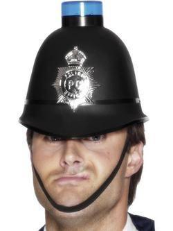 Fekete Villogó Műanyag Rendőr Sisak