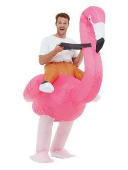 Flamingó Hátán Lovagló Felfújható Felnőtt Jelmez