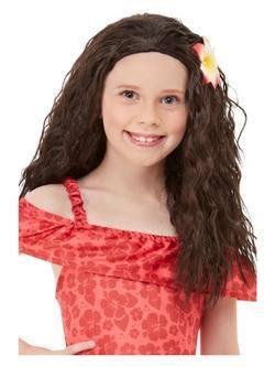 Hawaii Hercegnő Lányka Barna Paróka Virág Dísszel