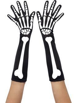 Hosszú Fekete Csontváz Mintás Kesztyű