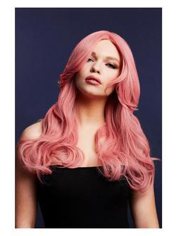 Hosszú Hullámos Hamvas Rózsaszín Paróka - 66 cm