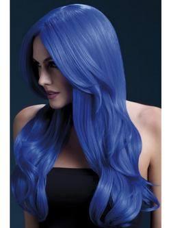 Hosszú Neon Kék Hullámos Paróka Oldal Frufruval