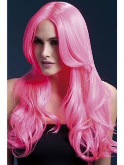 Hosszú Neon Rózsaszín Hullámos Paróka Oldal Frufruval