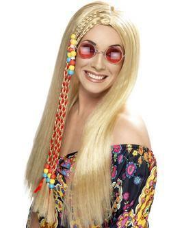 Hosszú Szőke Hippi Paróka Színes Gyöngyökkel