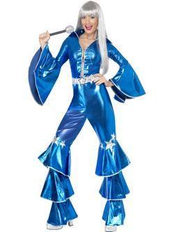 Kék 1970-es Évekbeli Disco Táncos Női Jelmez