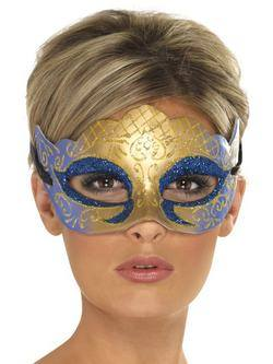 Kék-Arany Glitteres Velencei Szemmaszk