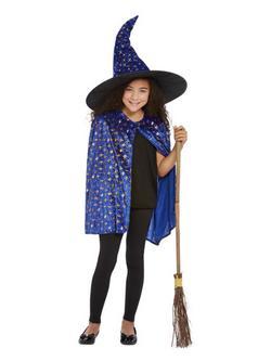 Kék Csillámos Boszorkány Jelmezkellék Szett Gyerekeknek