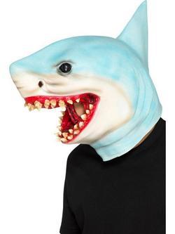 Kék Egész Fejet Befedő Latex Cápa Maszk
