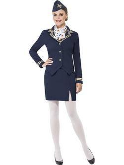 Kék Légiutas-Kísérő Női Jelmez