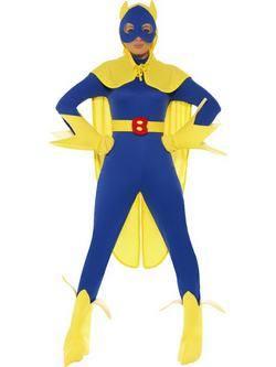 Kék-Sárga Bananaman Banán Szuperhős Női Jelmez