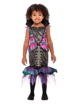 Lila-Fekete Sellő Totyogó Kislány Jelmez Halloweenre