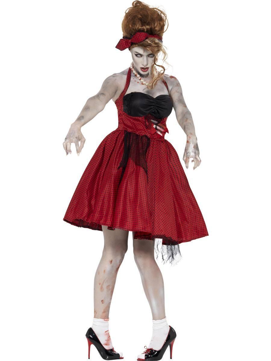 Piros 1950-es Évekbeli Rock & Roll Zombi Jelmez Nőknek Halloweenre
