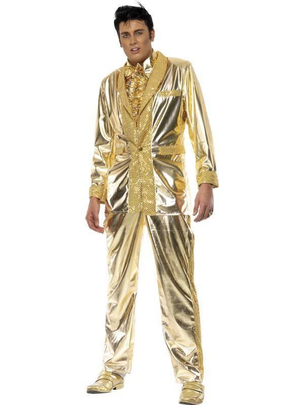 Arany Elvis Presley Jelmez Férfiaknak Kabáttal és Nadrággal - M