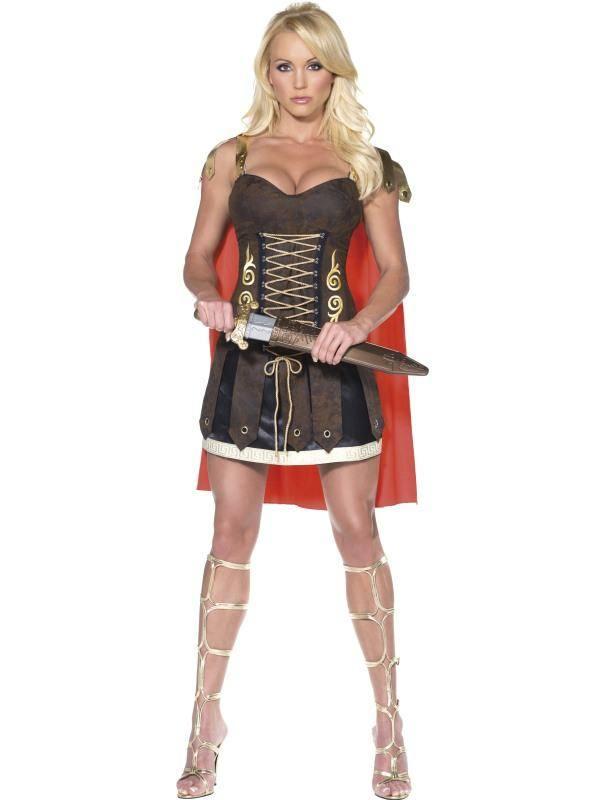 Szexi Barna-Piros Gladiátor Jelmez Nőknek Ruhával és Köpennyel - M