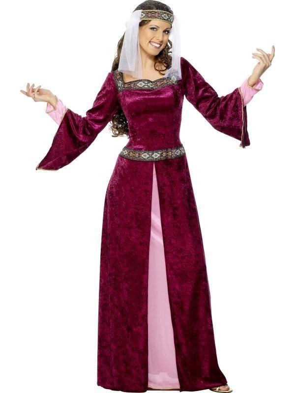 Bordó Robin Hood Szerelme Maid Marian Jelmez Nőknek Ruhával és Fejdísszel - M
