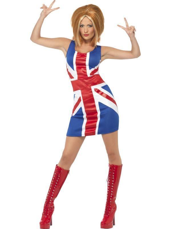 Szexi Brit Zászlós 1990-es Ikon Spice Girls Ginger Spice Jelmez Nőknek Ruhával - L