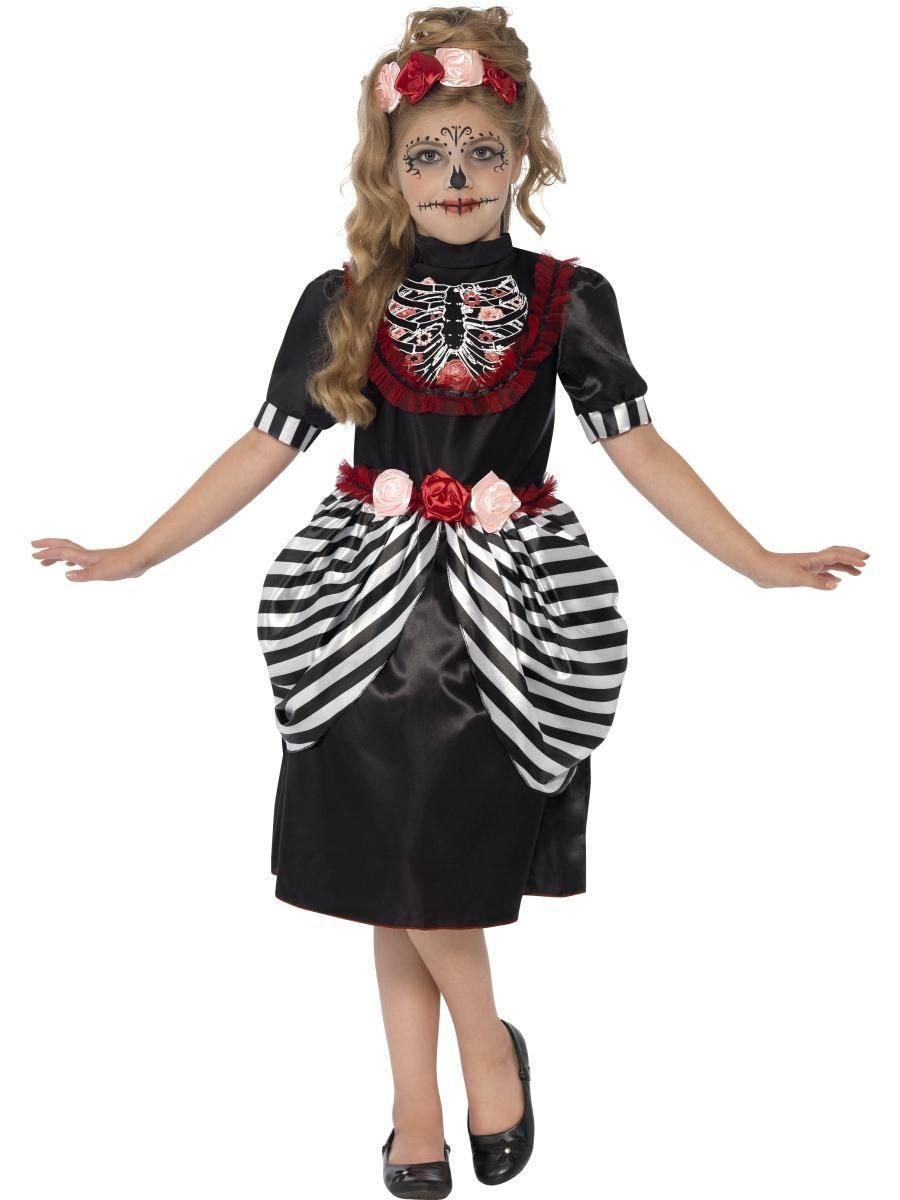 Fekete-Fehér Cukor Koponya Jelmez Kislányoknak Halloweenre
