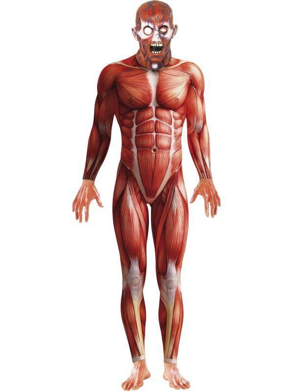 Emberi Izomzat Anatómiai Jelmez Férfiaknak Kezeslábassal és Maszkkal - M