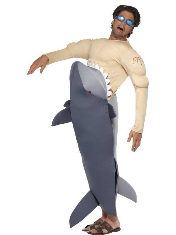 Embert Felfaló Cápa Jelmez Férfiaknak Úszószemüveggel