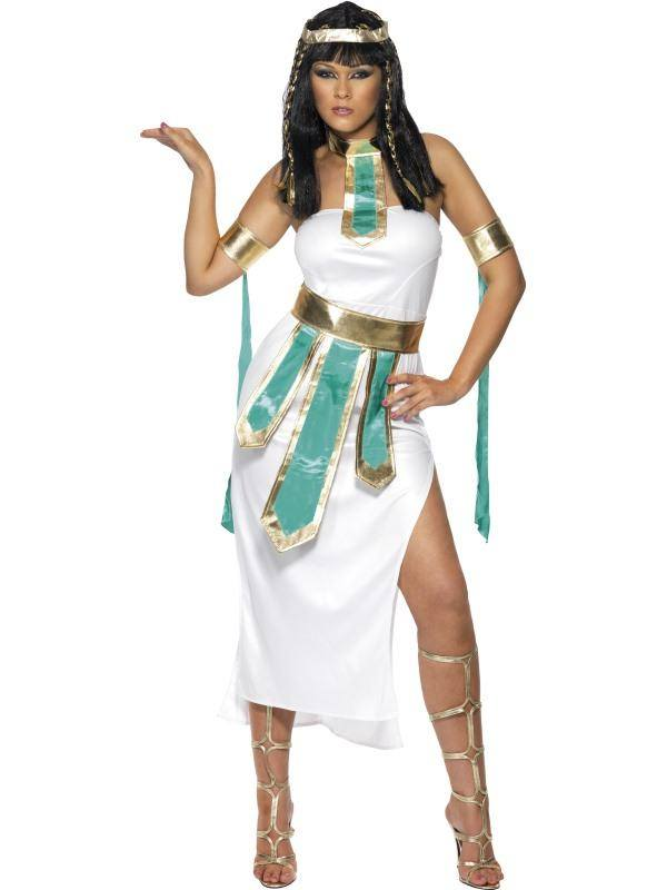 Szexi Fehér A Nílus Királynője Jelmez Nőknek Ruhával, Karpánttal és Övvel - S