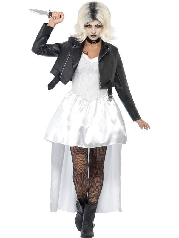 Fehér Chucky Menyasszonya Jelmez Nőknek Kabáttal, Ruhával és Nyakpánttal - M