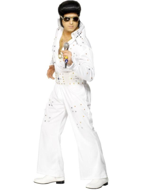 Fehér Elvis Presley Jelmez Férfiaknak Kezeslábassal és Övvel - M