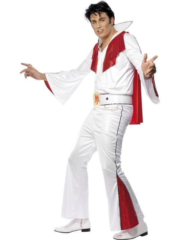 Fehér Elvis Presley Jelmez Férfiaknak Inggel, Nadrággal, Köpennyel és Övvel - M