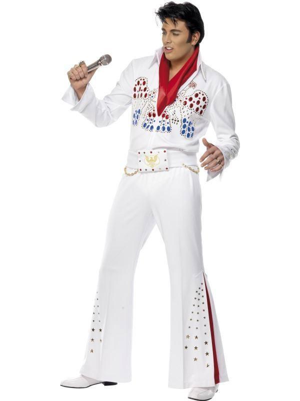 Fehér Elvis Presley Jelmez Férfiaknak Kezeslábassal és Sállal - M