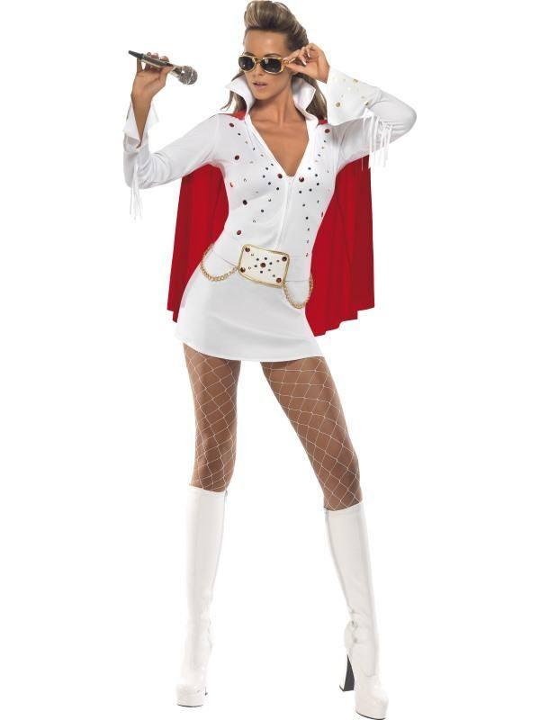 Szexi Fehér Elvis Viva Las Vegas Jelmez Nőknek Ruhával és Köpennyel - S