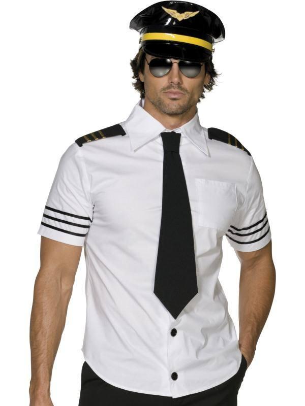 Fehér-Fekete Pilóta Férfi Jelmez - M