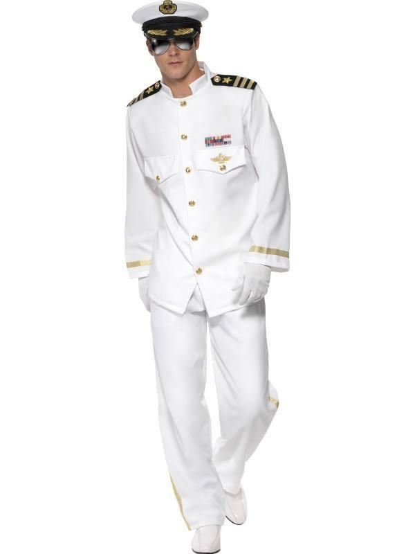 Fehér Hajóskapitány Férfi Jelmez Címerrel - L