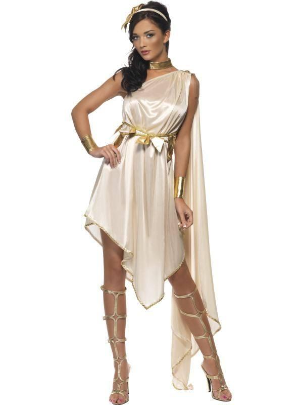 Szexi Fehér Istennő Jelmez Nőknek Ruhával, Övvel, Csuklópánttal, Nyakpánttal és Fejdísszel - S