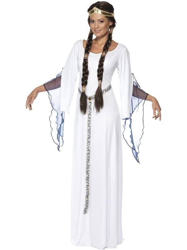 Szexi Fehér Középkori Hajadon Jelmez Nőknek Ruhával, Övvel és Fejdísszel - M